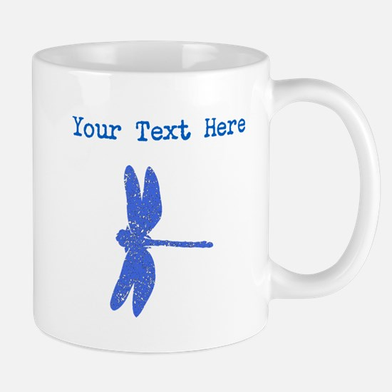 Distressed Blue Dragonfly (Custom) Mugs