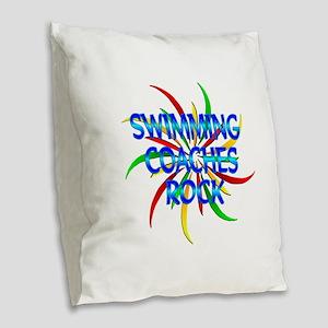 Swimming Coaches Rock Burlap Throw Pillow