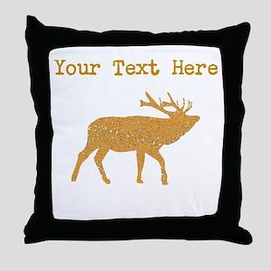 Distressed Brown Moose (Custom) Throw Pillow