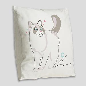 Ragdoll cat Burlap Throw Pillow