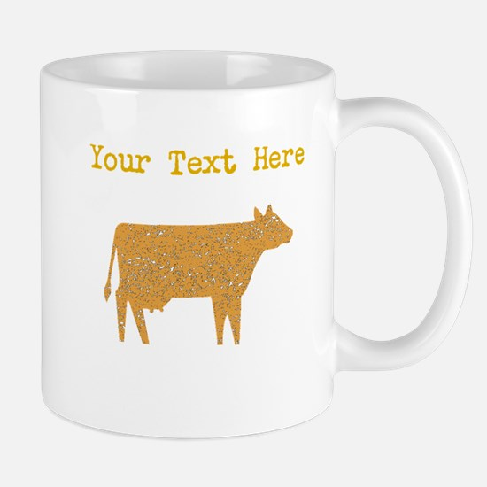 Distressed Brown Cow (Custom) Mugs