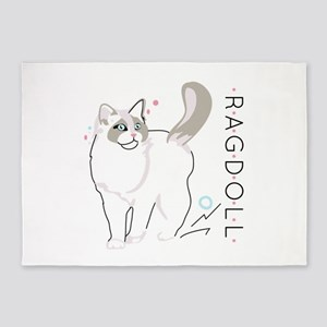 Ragdoll cat 5'x7'Area Rug