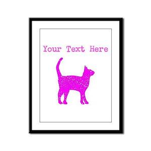 Distressed Pink Cat (Custom) Framed Panel Print