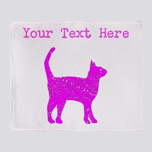 Distressed Pink Cat (Custom) Throw Blanket