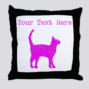 Distressed Pink Cat (Custom) Throw Pillow