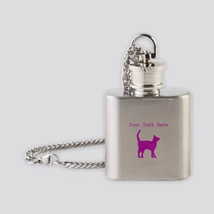 Distressed Pink Cat (Custom) Flask Necklace