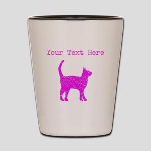 Distressed Pink Cat (Custom) Shot Glass