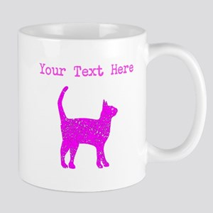 Distressed Pink Cat (Custom) Mugs