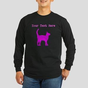Distressed Pink Cat (Custom) Long Sleeve T-Shirt