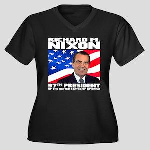 37 Nixon Women's Plus Size V-Neck Dark T-Shirt