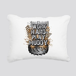 Work Hard Play Muddy Rectangular Canvas Pillow