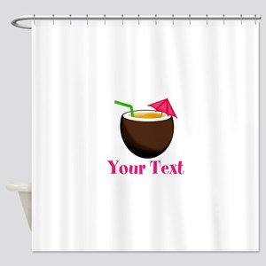 Personalizable Tropical Coconut Drink Shower Curta