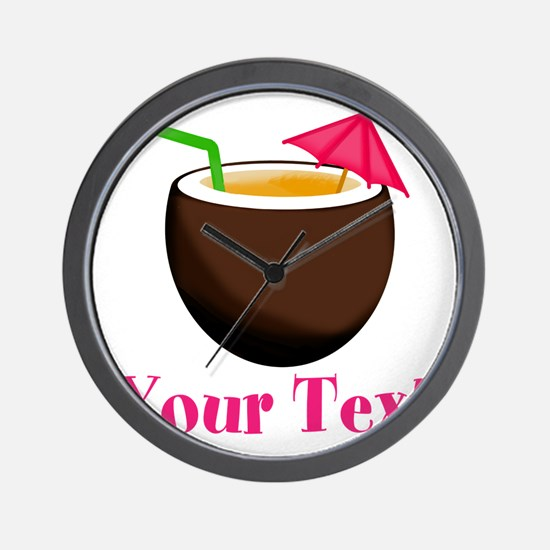 Personalizable Tropical Coconut Drink Wall Clock