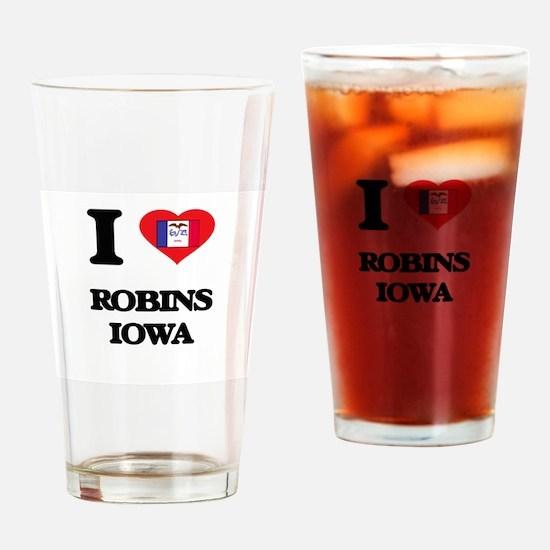 I love Robins Iowa Drinking Glass