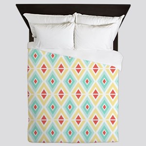 Abstract Pastel Geometric Pattern Queen Duvet