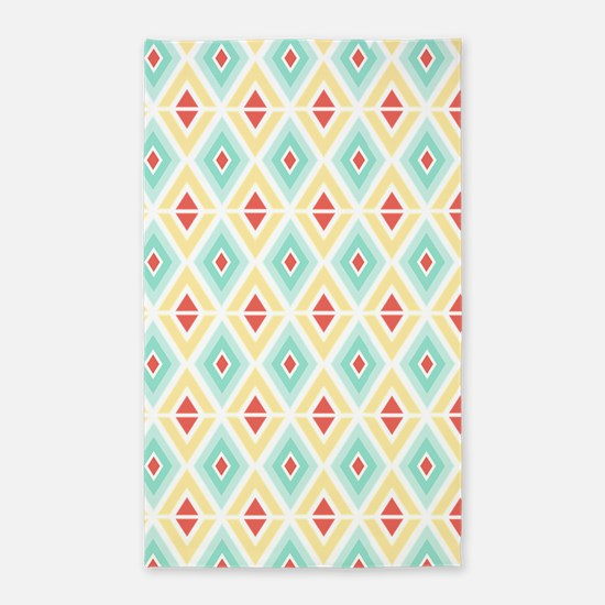 Abstract Pastel Geometric Pattern Area Rug