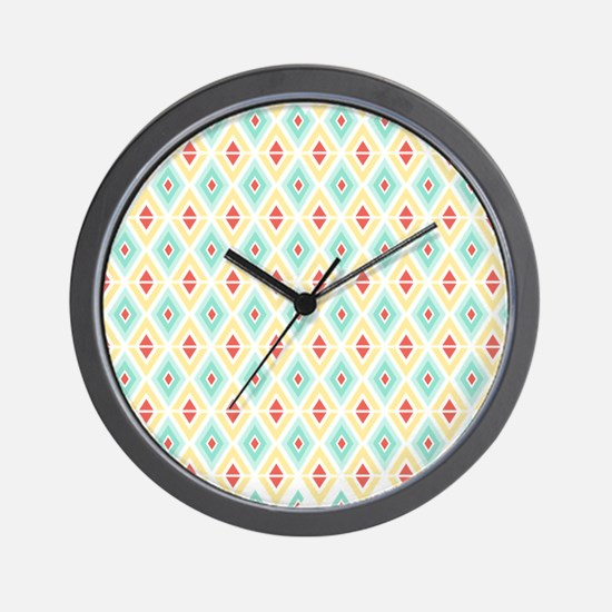 Abstract Pastel Geometric Pattern Wall Clock