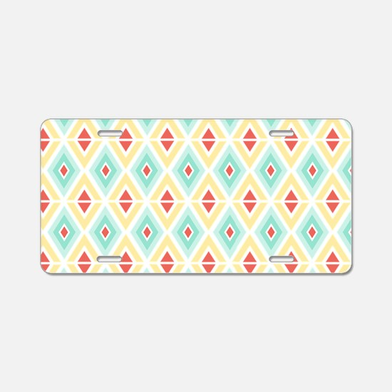 Abstract Pastel Geometric P Aluminum License Plate