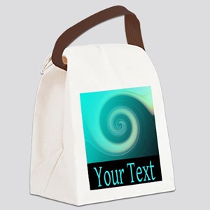 Personalizable Teal Wave Canvas Lunch Bag