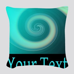 Personalizable Teal Wave Woven Throw Pillow