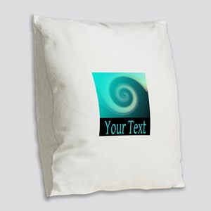 Personalizable Teal Wave Burlap Throw Pillow