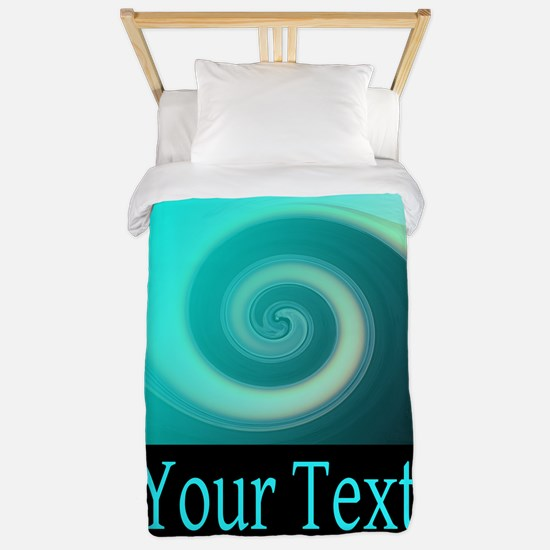 Personalizable Teal Wave Twin Duvet