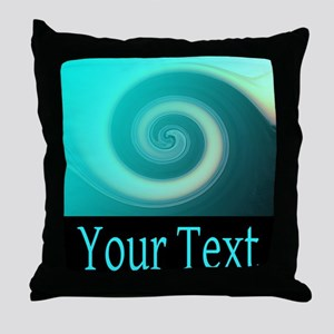 Personalizable Teal Wave Throw Pillow