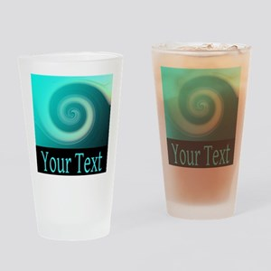 Personalizable Teal Wave Drinking Glass