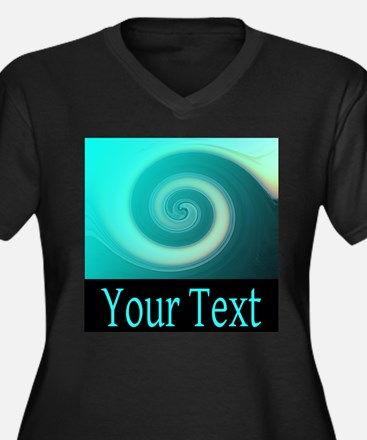 Personalizable Teal Wave Plus Size T-Shirt