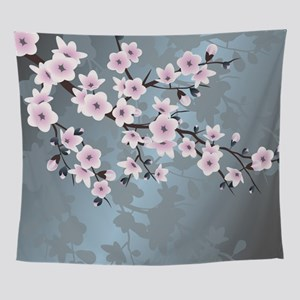 Pink Blue Cherry Blossoms Wall Tapestry