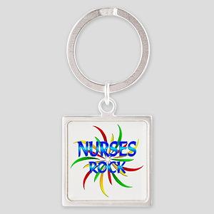 Nurses Rock Square Keychain