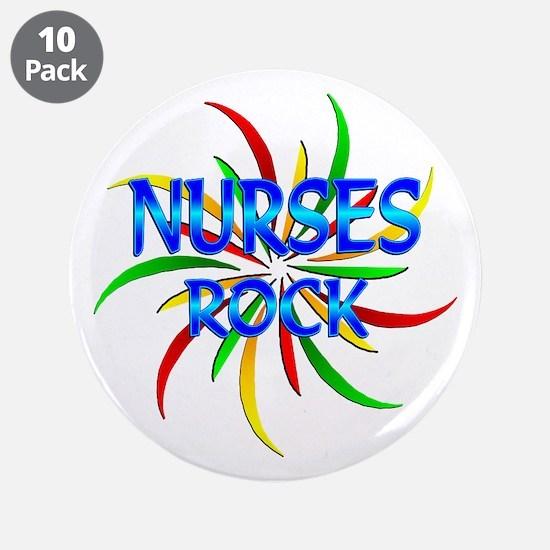 """Nurses Rock 3.5"""" Button (10 pack)"""