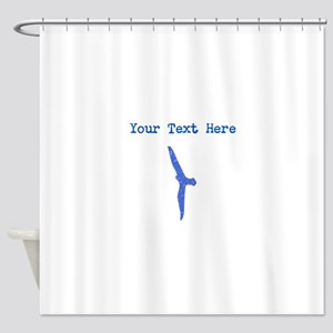 Distressed Blue Seagull (Custom) Shower Curtain