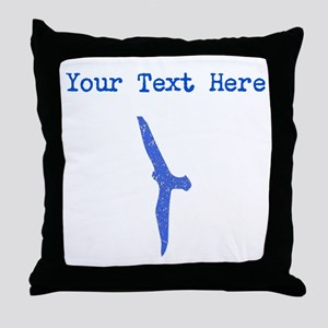 Distressed Blue Seagull (Custom) Throw Pillow