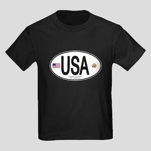 USA Euro-style Country Code Kids Dark T-Shirt