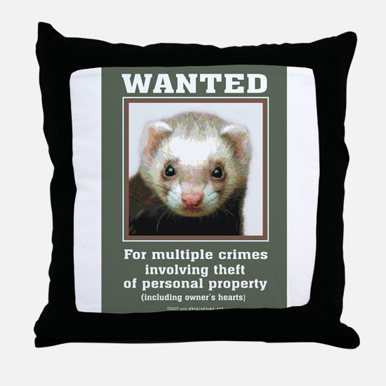 Ferret Wanted Poster Throw Pillow
