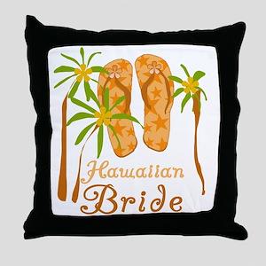 Tropical Hawaiian Bride Throw Pillow