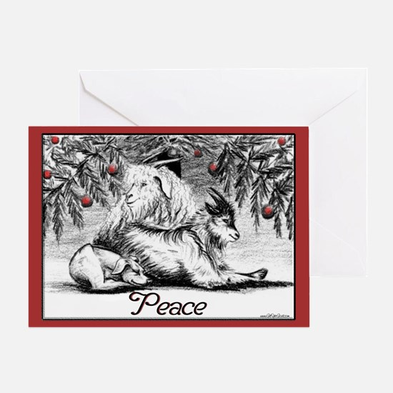 Goat Christmas Peace Greeting Card