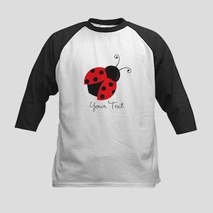 Red and Black Ladybug; Kid's, Girl's Baseball Jers