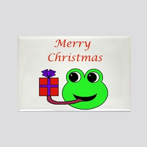 MERRY CHRISTMAS (FROG) Rectangle Magnet