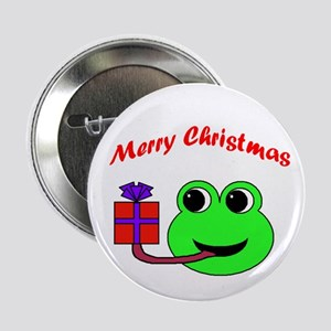 """MERRY CHRISTMAS (FROG) 2.25"""" Button (10 pack)"""