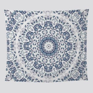 Grayish Blue Floral Mandal Wall Tapestry