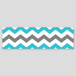 Teal and Gray Chevron Pattern Bumper Sticker