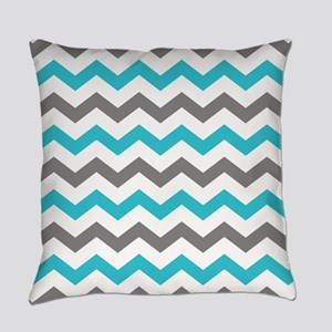Teal and Gray Chevron Pattern Everyday Pillow