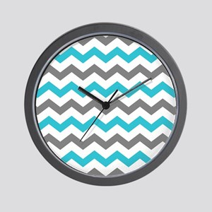 Teal and Gray Chevron Pattern Wall Clock