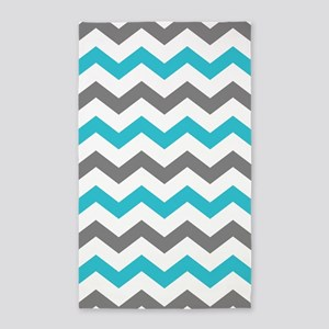 Teal and Gray Chevron Pattern Area Rug
