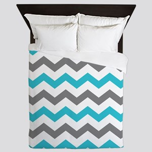 Teal and Gray Chevron Pattern Queen Duvet