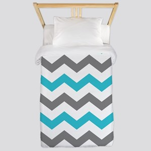 Teal and Gray Chevron Pattern Twin Duvet