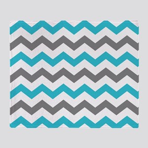 Teal and Gray Chevron Pattern Throw Blanket
