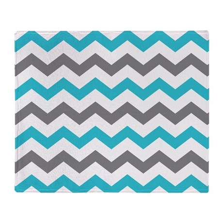 c47010a015 Teal and Gray Chevron Pattern Throw Blanket